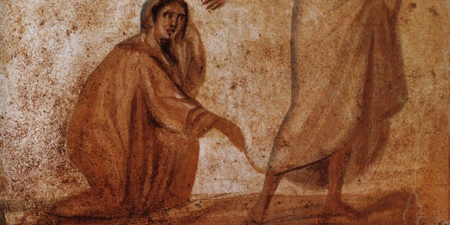 Image credit: Healing of a Bleeding Woman (detail), Catacombs of Marcellinus and Peter, Rome, Italy.