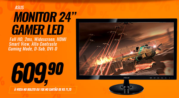 Monitor Gamer LED ASUS 24, Full HD, 2ms, Widescreen, HDMI, Smart View, Alto Contraste, Gaming Mode, D-Sub, DVI-D, VS248H-P