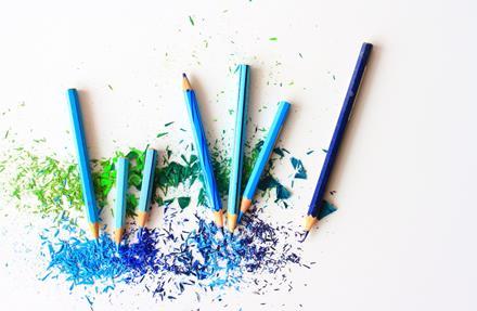 blue pencil crayons