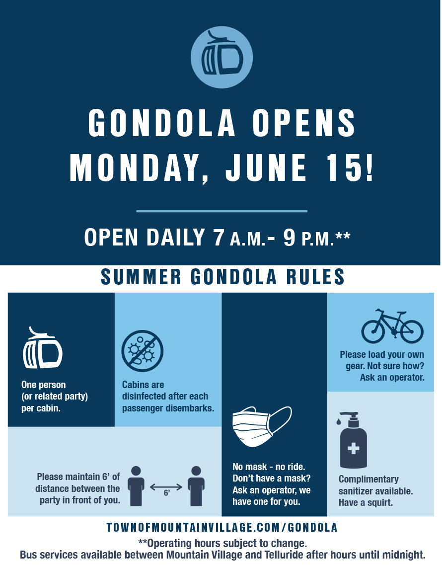 Gondola Opening for Summer 2020