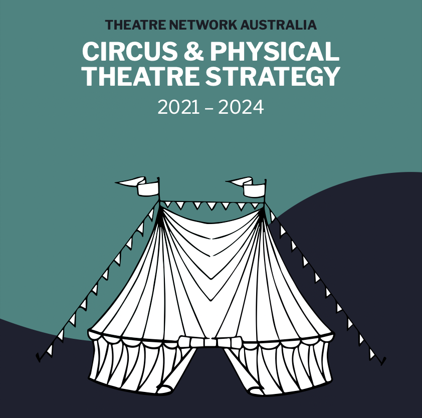 Image with text 'Theatre Network Australia Circus & Physical Theatre Strategy 2021-2024' with a illustrated image of a big top circus tent.