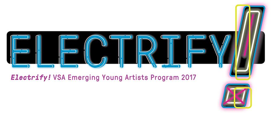 Graphic logo for Electrify! VSA Emerging Young Artists Program 2017