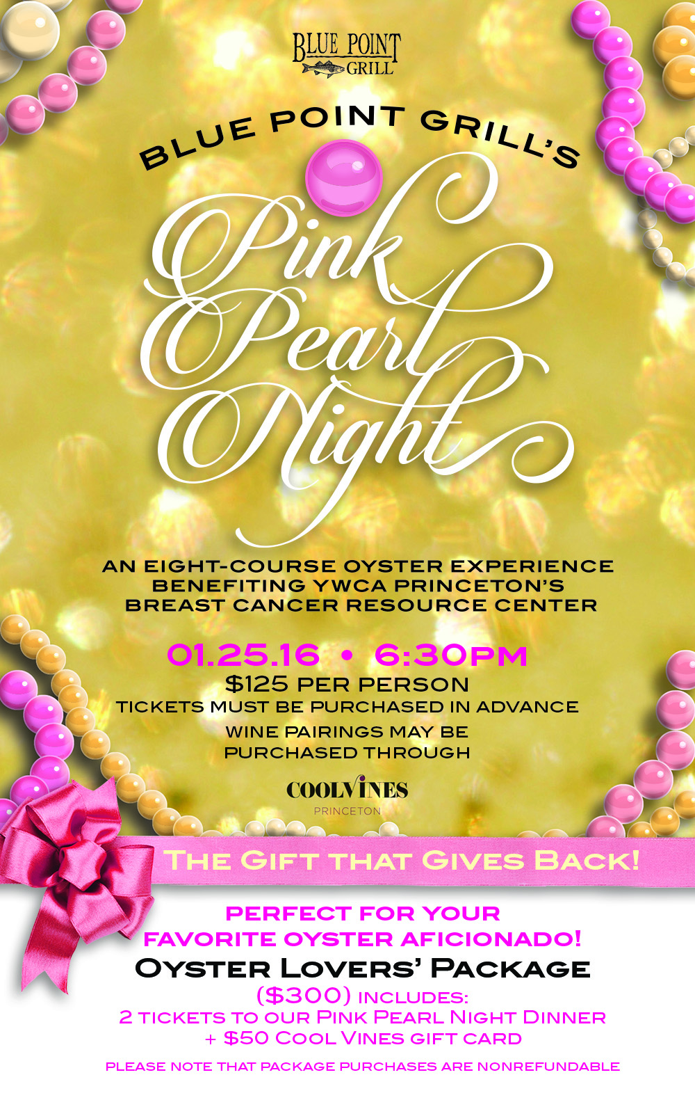 Pink Pearl Night ~ Save The Date ~ Jan. 25th 2016 Blue Point Grill