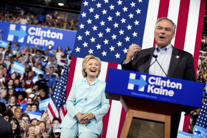 Hillary Clinton and running mate Tim Kaine.