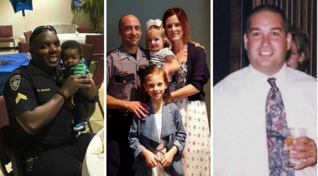 The three police officers killed were all fathers: Montrell Jackson, 32, just had a new baby. Matthew Gerald, 41, was the father of two girls, and Brad Garafola, 45, had four children.