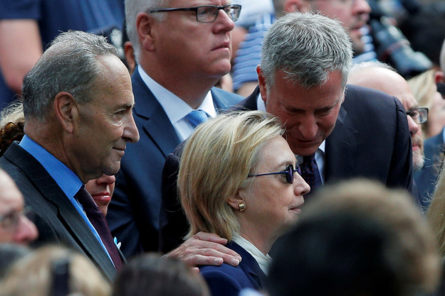 Hillary Clinton on Sunday, together with New York Sen. Chuck Schumer (left) and New York City Mayor Bill de Blasio.