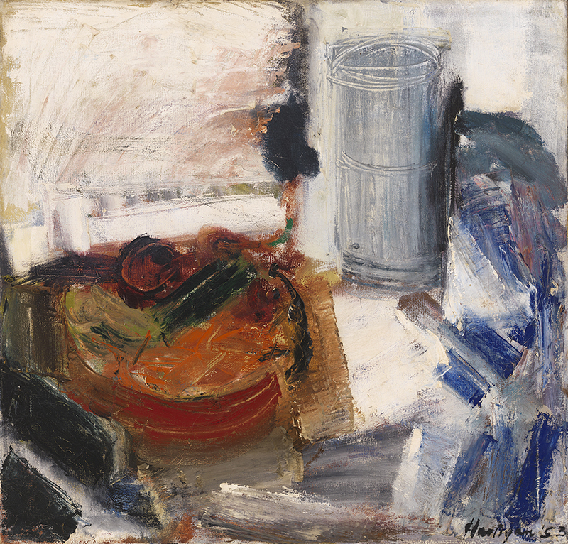 Grace Hartigan (1922-2008), Still Life with Cucumber, 1953, Oil on canvas, 29 x 30 1/4 inches